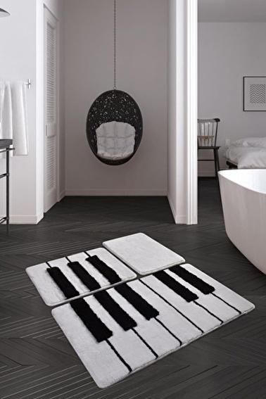 Chilai Home Piyano 3'lü Set Klozet Takımı Akrilik Banyo Paspası Renkli